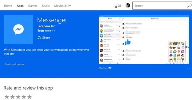 Windows için Facebook Messenger güncellendi
