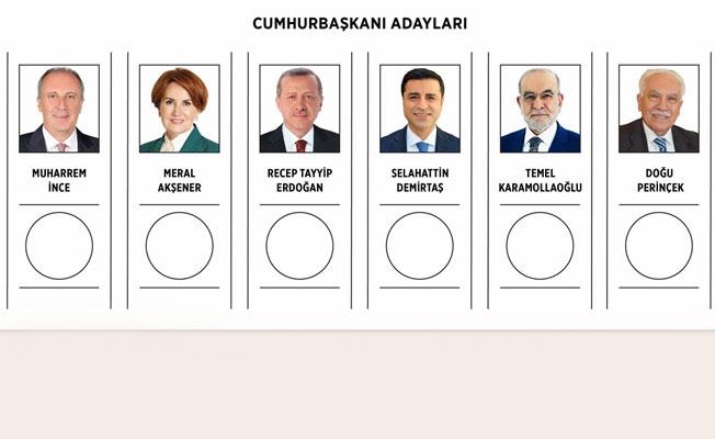 Cumhurbaşkanı adaylarının birleşik oy pusulasındaki yerleri belli oldu