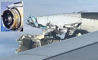 Yolcu uçağının motoru havada patladı