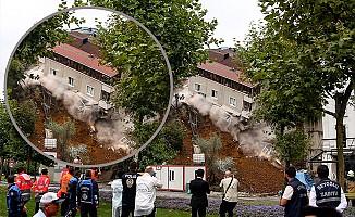 Facianın eşiğinden dönüldü: Temelsiz bina böyle çöktü