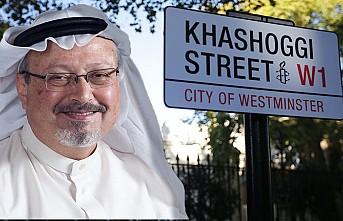 """Suudi Arabistan'ın Londra Büyükelçiliğinin sokağına """"Kaşıkçı"""" tabelası"""