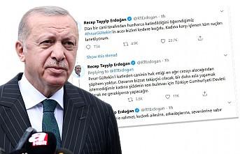 """Erdoğan'dan """"Pınar Gültekin"""" Paylaşımı"""