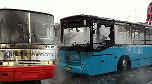 Terör yandaşları 2 otobüsü yaktı