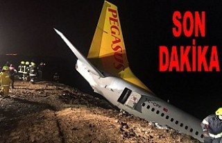 Pegasus uçağı pistten çıktı, havalimanı uçuşa...