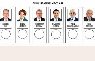 Cumhurbaşkanı adaylarının birleşik oy pusulasındaki...