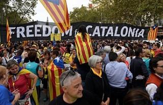 Katalonya'da bağımsızlık gösterilerinde...