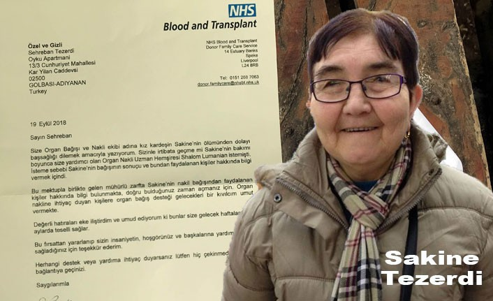 Londra'da beş kişiye hayat veren Sakine Tezerdi'nin ailesine NHS'ten Teşekkür mektubu